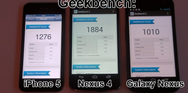 Nexus 4 vs. iPhone 5 vs. Galaxy Nexus im Side by Side Benchmark