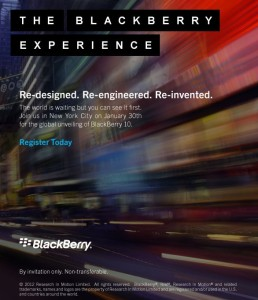 BlackBerry 10 Launch Event  – RIM versendet Einladungen
