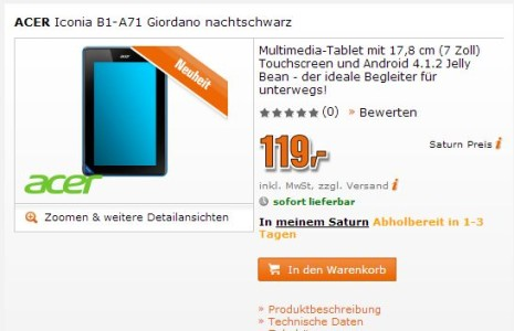 Acer Iconia Tab B1 Budget Tablet bereits bei Saturn gelistet