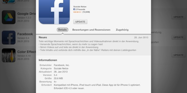 Update: Facebook 5.4 für iOS