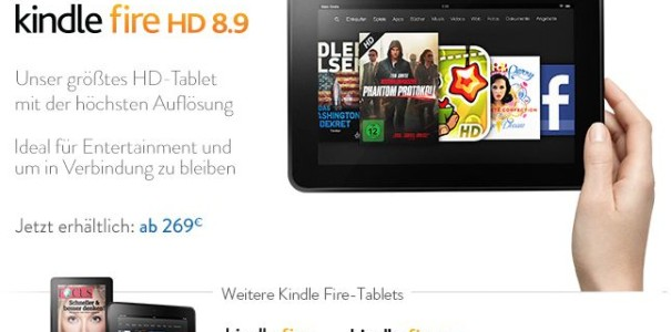 Amazon Kindle Fire HD 8.9 geht in Deutschland ab 269 Euro an den Start