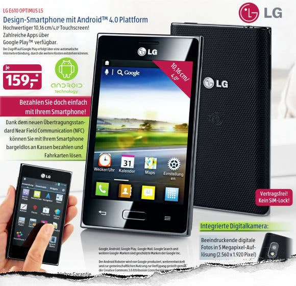 Aldi-Smartphone: LG E610 Optimus L5 mit Android 4.0 im September bei Aldi-Süd