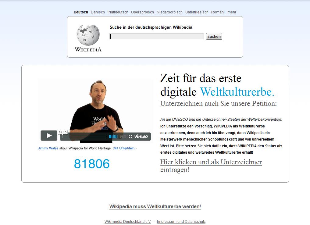 Petition gestartet: Wikipedia möchte erstes digitales UNESCO-Weltkulturerbe werden