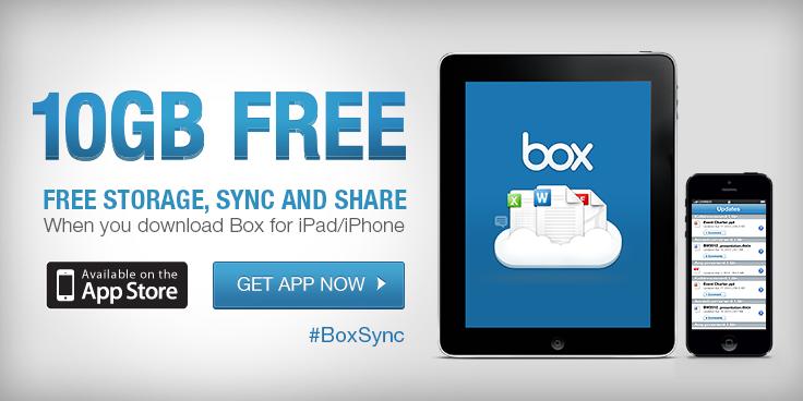 Promo für iOS Benutzer: 10GB Speicher kostenlos von Box