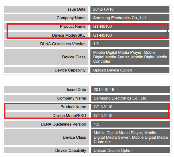 GT-N5100: Bastelt Samsung an einem 7 Zoll Note?