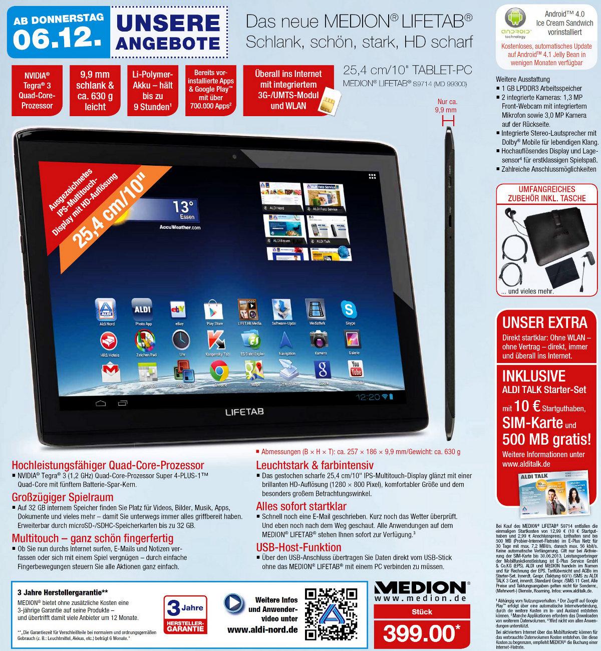 Aldi-Tablet Medion Lifetab S9714 (MD 99300) ab 06. Dezember