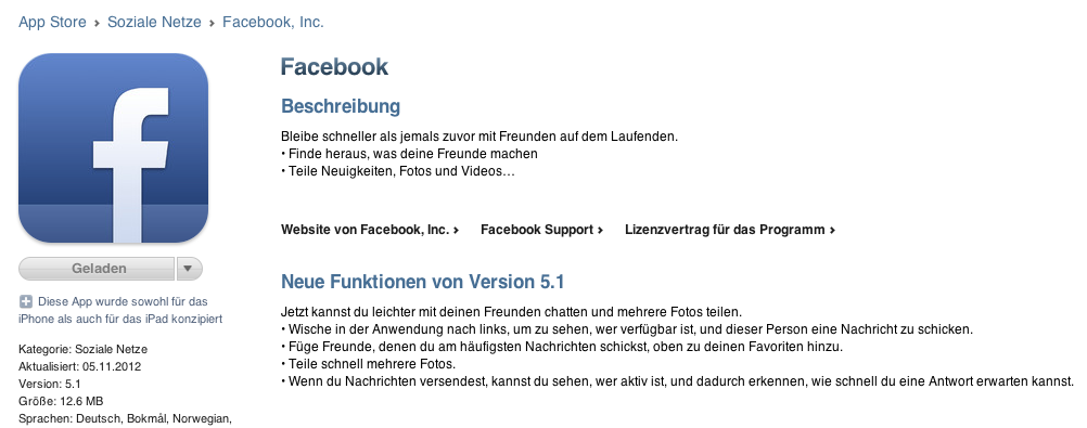 Facebook 5.1 für iOS – Update mit Warnungen