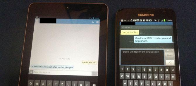 Google Nexus 7 3G kann SMS versenden & empfangen