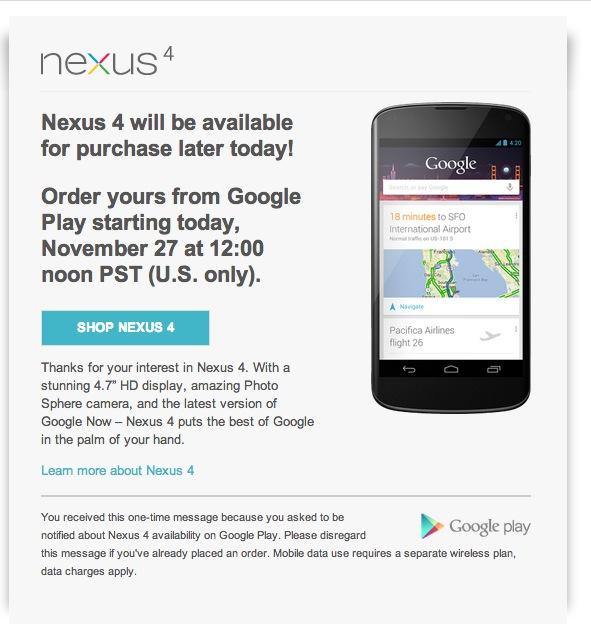 LG Google Nexus 4 ab heute wieder verfügbar – Aber nur in den USA