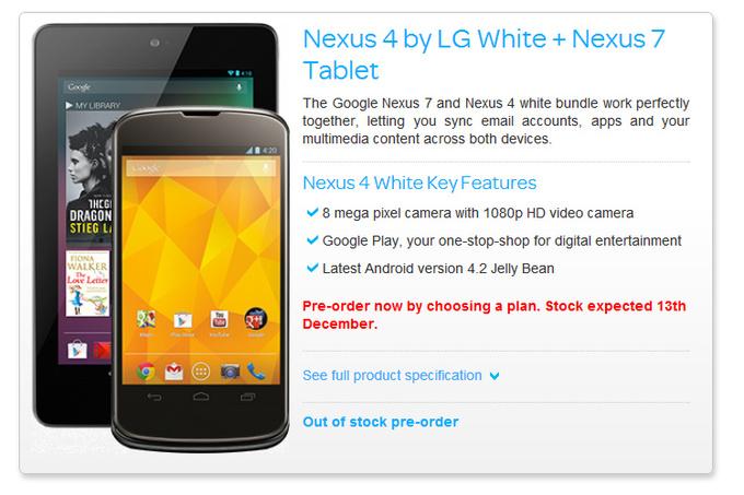LG Nexus 4 ab Mitte Dezember in weiß?