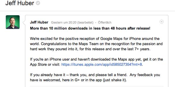 Google Maps für iPhone: Mehr als 10 Millionen Downloads in weniger als 48 Stunden