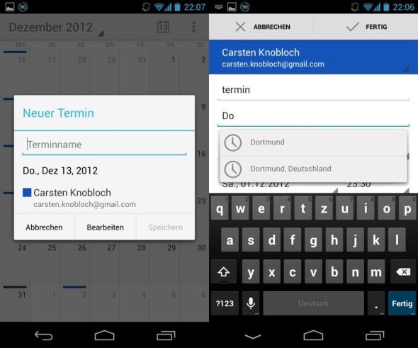 Google Kalender mit Update für Android