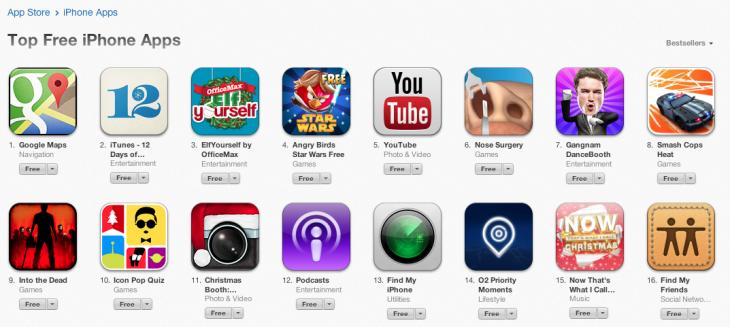 Google Maps nach wenigen Stunden beliebteste kostenlose App für iOS