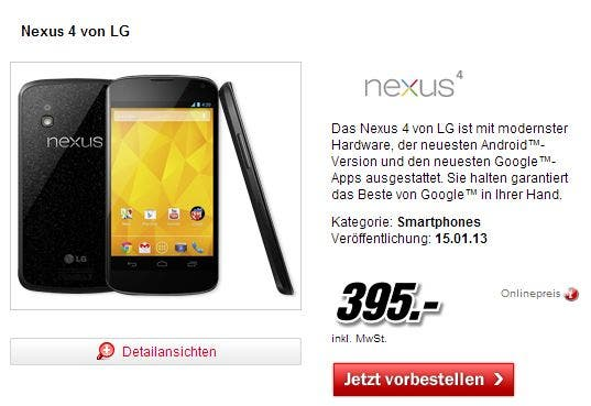 Nexus 4 – erst Mitte Januar beim Media Markt