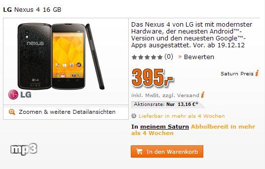 Nexus 4 – in vier Wochen bei Saturn für 395 Euro