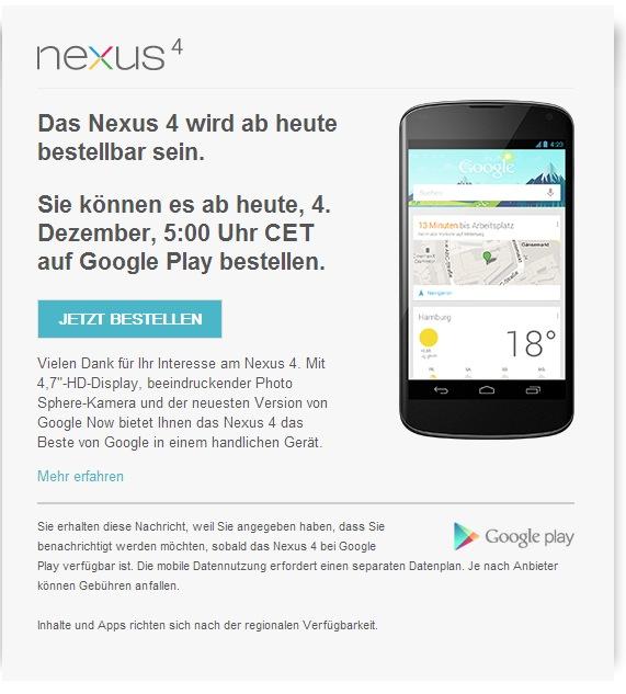 Google Nexus 4 ab 17 Uhr in Deutschland verfügbar
