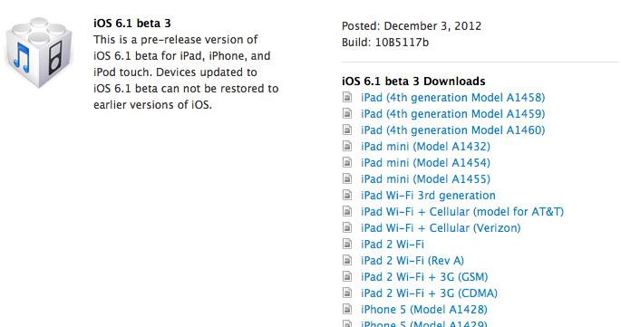Für Entwickler: Apple stellt dritte Beta von iOS 6.1 bereit