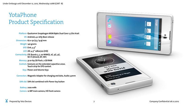 YotaPhone Android-Smartphone mit 4,3inch LCD vorn & E-Ink-Display auf der Rückseite