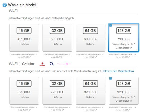 Apple iPad 4 mit 128GB kommt im Februar ab 799 Euro *Update: jetzt verfügbar!*