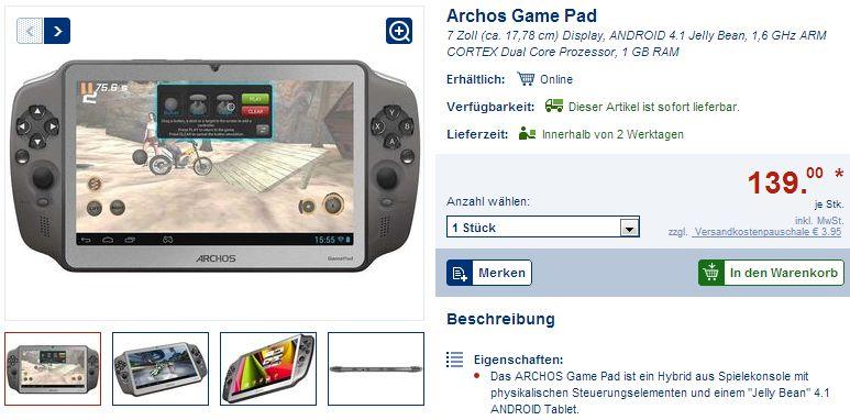 Archos GamePad – bei Lidl online derzeit für 139 Euro verfügbar