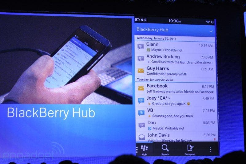 BlackBerry Hub im offiziellen Walk-Through