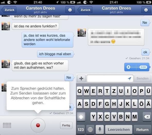Facebook Messenger jetzt auch mit Sprachfunktionen