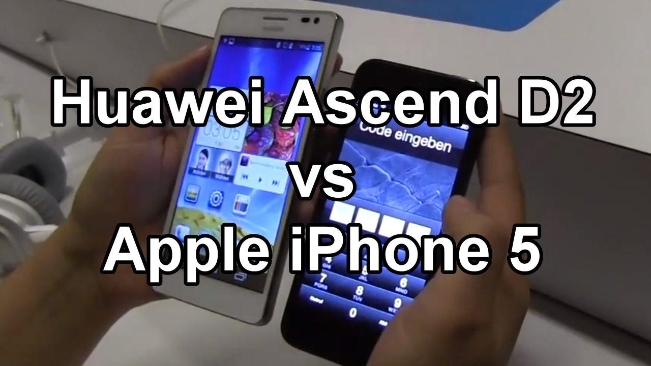 CES 2013: das Apple iPhone 5 und das Huawei Ascend D2 im Vergleich