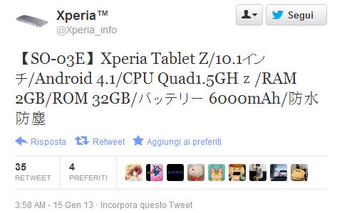 Sony Xperia Tablet Z: angebliche Spezifikationen aufgetaucht
