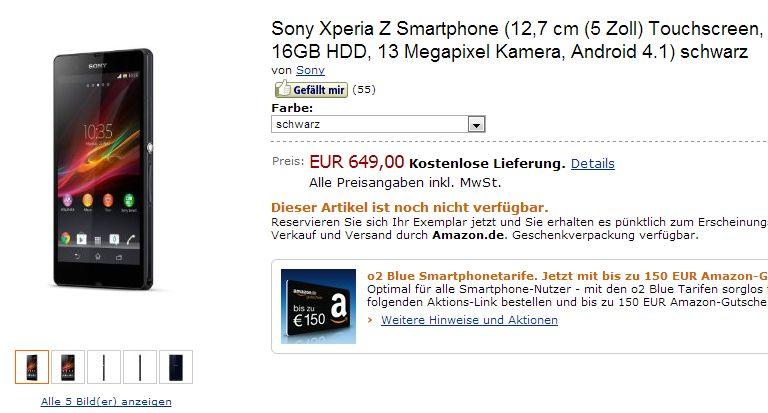 Sony Xperia Z taucht bei Amazon und Co auf *Update: Sony Aktion mit gratis NFC-Lautsprecher*