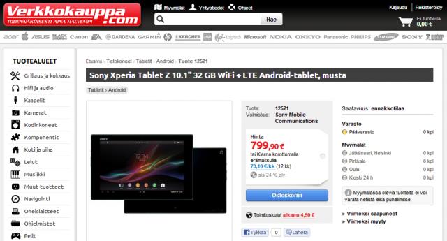 Sony Xperia Tablet Z kurze Zeit für 799 Euro in finnischem Shop gesichtet