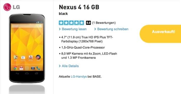 Nexus 4: Bei BASE nicht mehr im Gespräch?