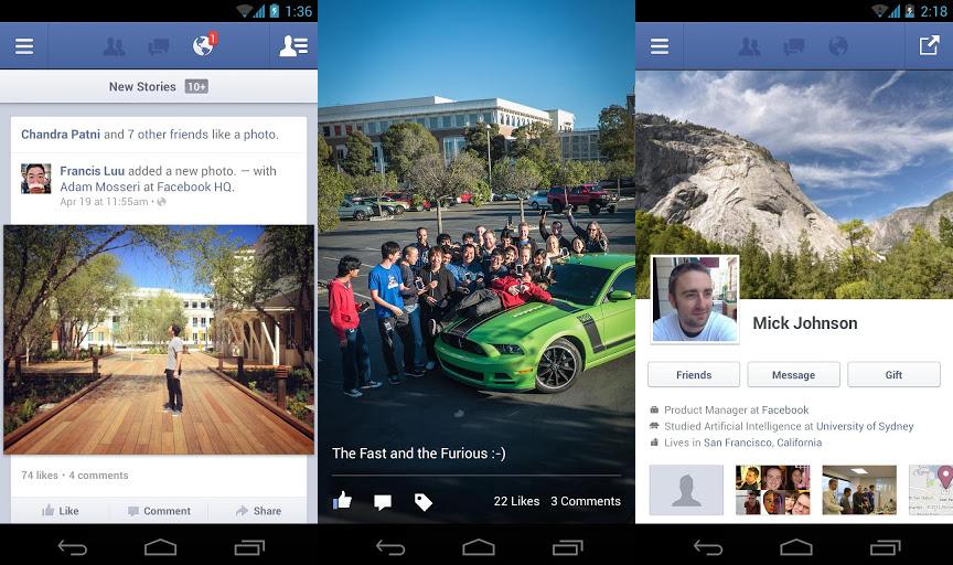 Facebook fuer Android Update: Foto Anzeige beschleunigt und Voice Message Feature