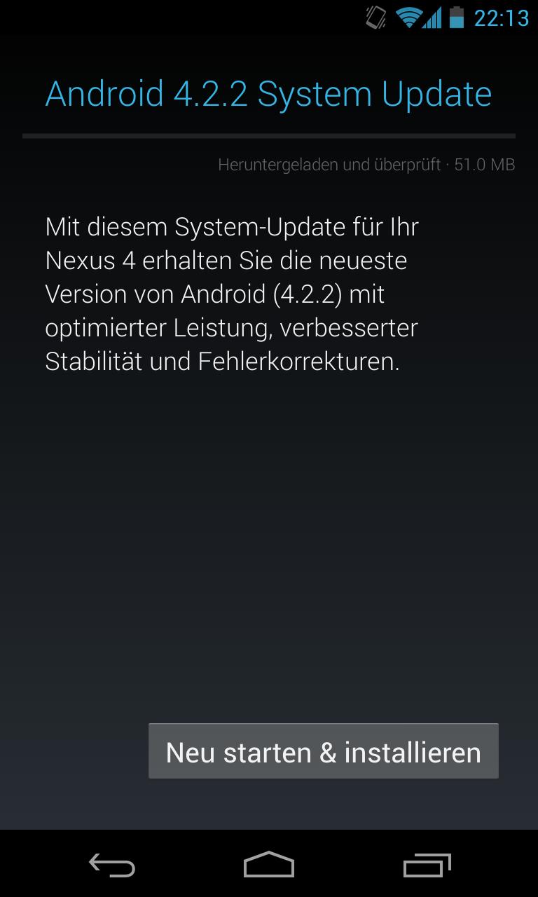 Android 4.2.2 für Nexus 4 jetzt per OTA Update