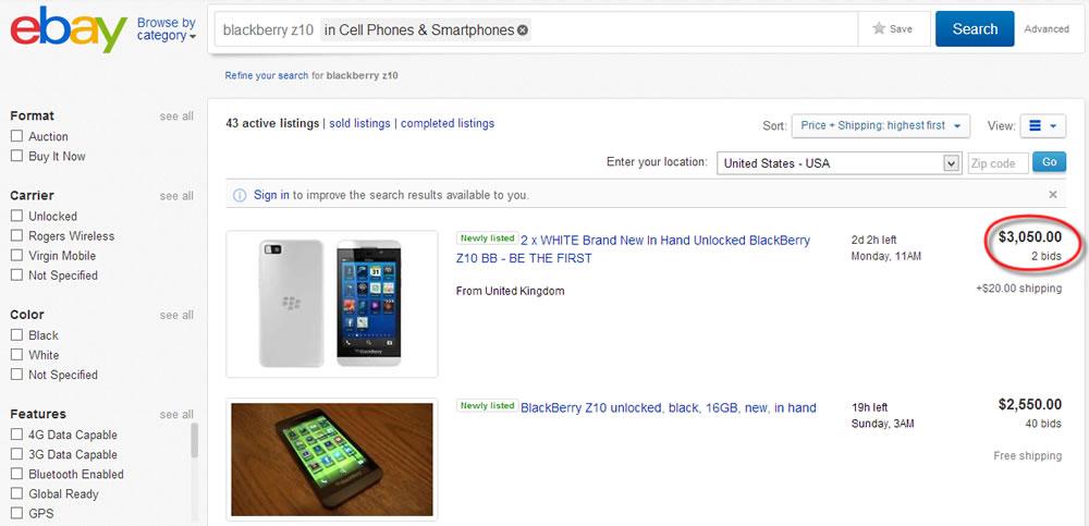 BlackBerry Z10 auf US-Ebay fuer ueber $3000!