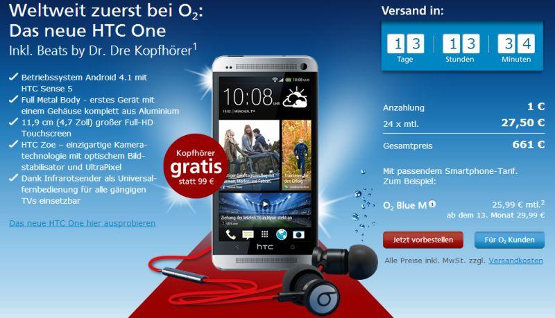 HTC One: bei O2 heute schon vorbestellbar, bald auch bei Base und Vodafone