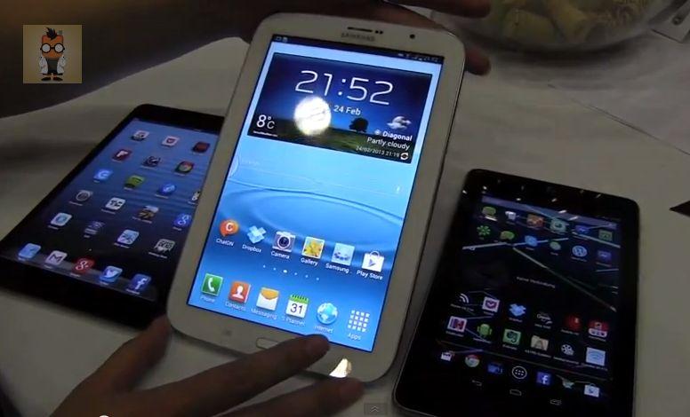 MWC: Samsung Galaxy Note 8.0, Apple iPad mini und Google Nexus 7 im direkten Vergleich