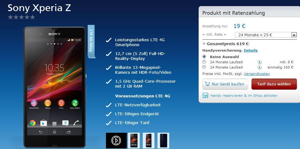 Sony Xperia Z: Bei o2 in Deutschland bereits verfügbar