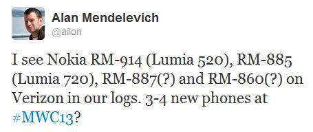 Tweet Alan Vier neue Nokia Smartphones zum MWC? Lumia 520, 7270, 1000 und...