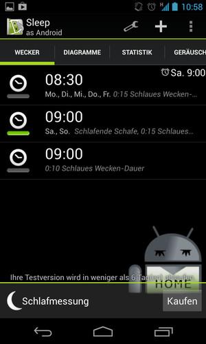Wecker Besser schlafen mit Sleep as Android