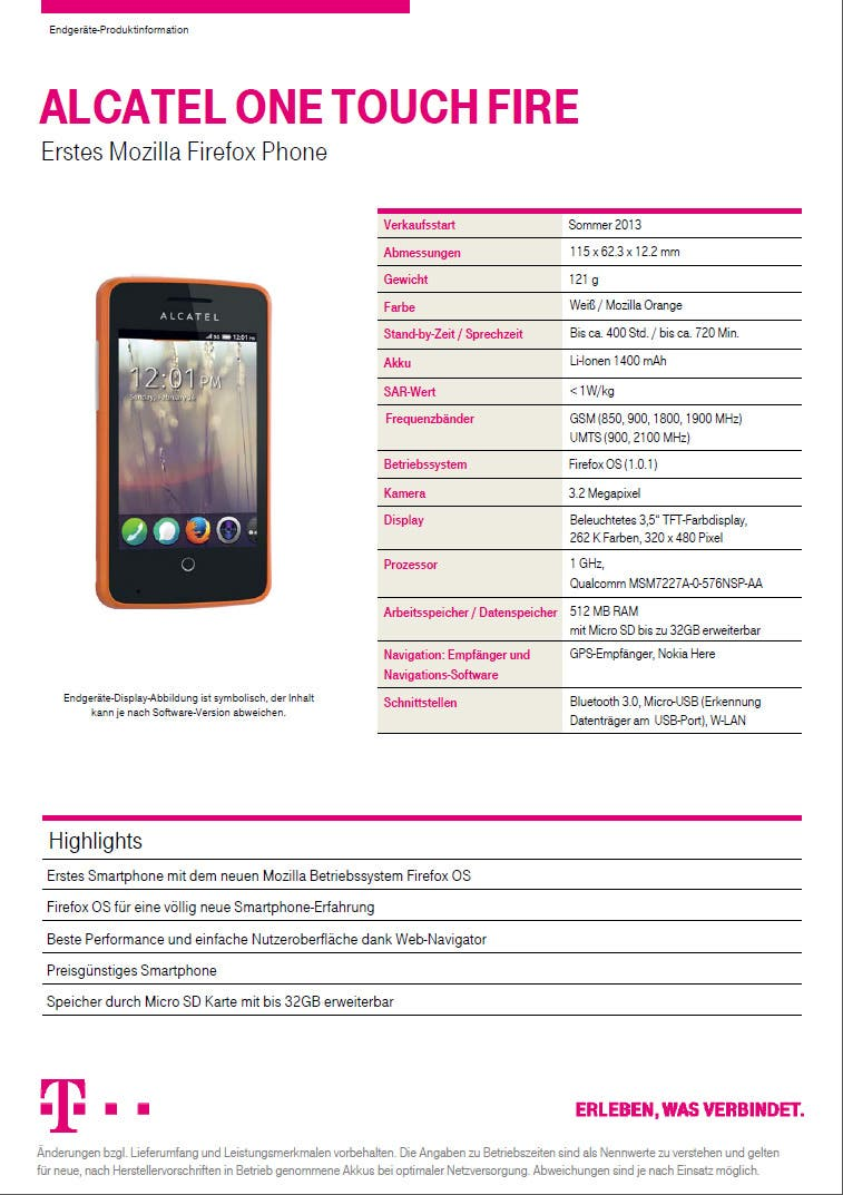 alcatel one touch fire 1 MWC: Telekom bringt Alcatel One Touch Fire Smartphone mit Firefox OS im Sommer   zuerst in Polen