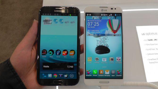 MWC: LG Optimus G Pro und Samsung Galaxy Note 2 im direkten Vergleich