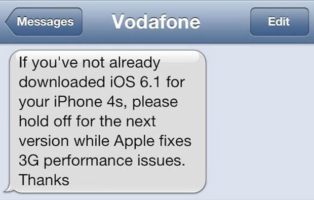 Vodafone warnt Iphone 4S User vor Upgrade auf iOS 6.1 *Update*