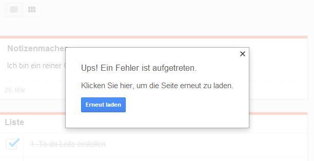 Google Keep Fehler