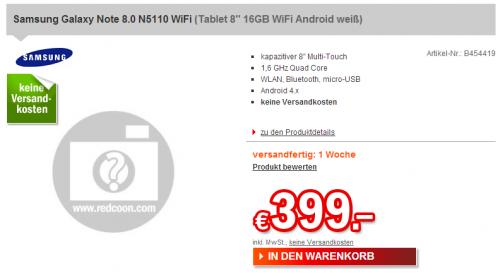 Samsung Galaxy Note 8.0: Ab nächster Woche in Deutschland für 399 €?