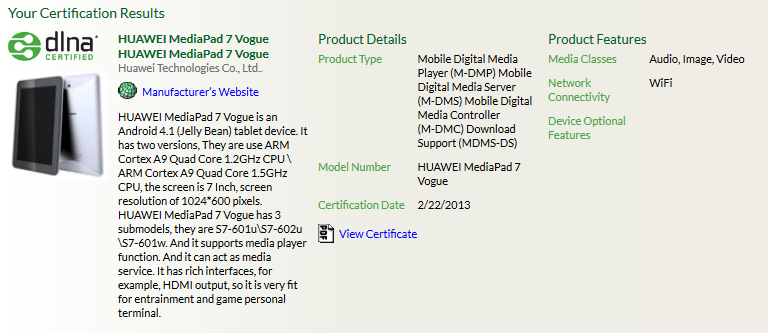Huawei MediaPad 7 Vogue mit Quad-Core CPU bei der DLNA aufgetaucht