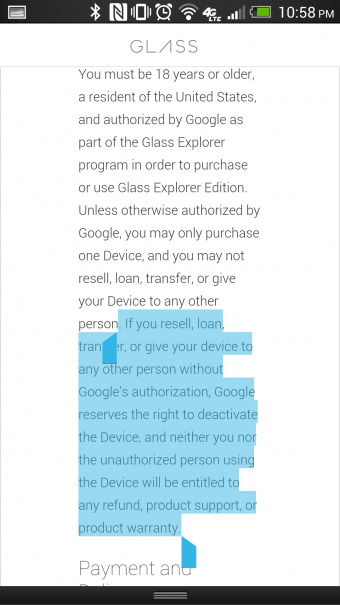 Google Glass Weiterverkauf1 340x605 Google Glass: Weiterverkauf verboten?