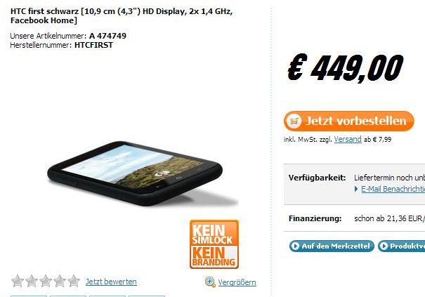 HTC First: Facebook Phone in Deutschland für 449 Euro gelistet