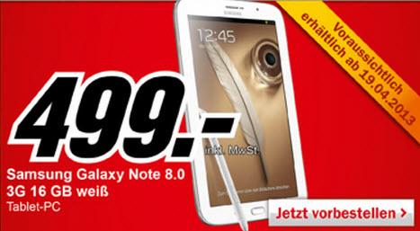 Samsung Galaxy Note 8.0 ab nächster Woche bei Media Markt