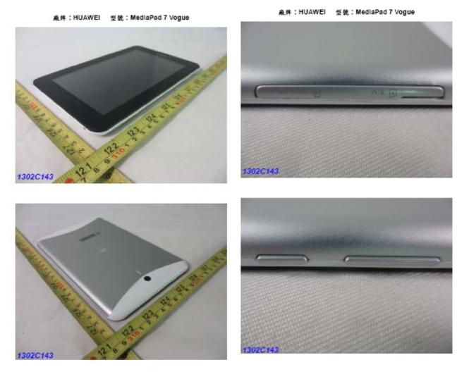Huawei Media Pad 7 Vogue taucht mit Bildern bei NCC auf