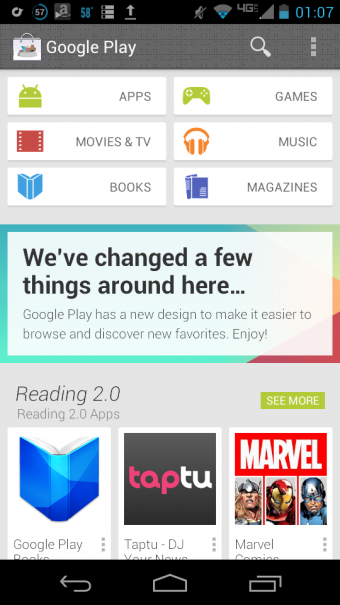 new google play 340x605 Google Babel Chat kommt und Google Play Redesign